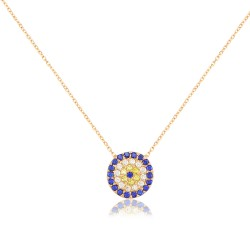 CZ0028N EVIL EYE NECKLACE GOLD PL 925