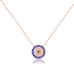 CZ0028N EVIL EYE NECKLACE ROSE PL 925