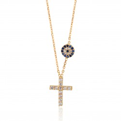 CZ0186N CROSS AND EVIL EYE NECKLACE GOLD PL 925