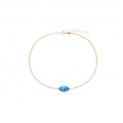 CZ4590B BLUE OPAL EYE BRACELET GOLD PL 925