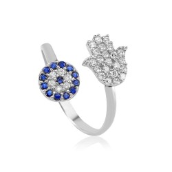 CZR0843 EVIL EYE AND HAMSA HAND RING SILVER 925