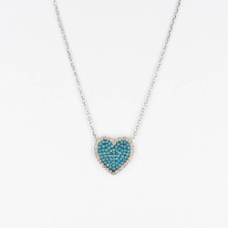 CZ2466N-1 HEART ZIRGON NECKLACE SILVER 925