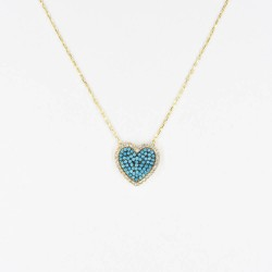 CZ2466N-1 HEART ZIRGON NECKLACE GOLD PL 925