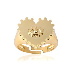 CZR2756 CHEVALIER HEART RING GOLD PL 925