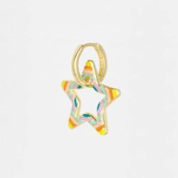 CZEAR CUFF HOOPS STAR EARRING GOLD PL 925