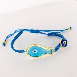 BD0588 CLEAR BLUE FISH MACRAME BRACELET GOLD PL 925