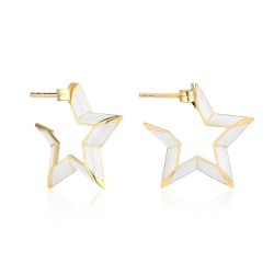 CZEAR4666 WHITE STAR ENAMEL EARRING GOLD PL 925