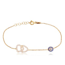 CZ1082B HEART AND EVIL EYE BRACELET GOLD PL 925
