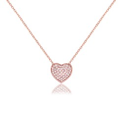 CZ1192N HEART NECKLACE ROSE PL 925