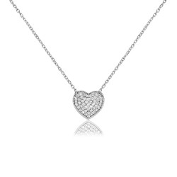CZ1192N HEART NECKLACE SILVER 925