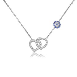CZ1082N HEART AND EVIL EYE NECKLACE SILVER 925