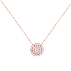 CZ0028NWH ROUND NECKLACE ROSE PL 925
