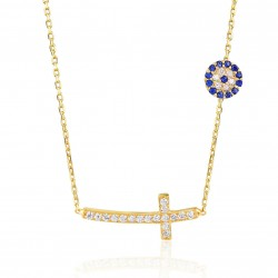 CZ0961N CROSS AND EVIL EYE NECKLACE GOLD PL 925