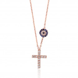 CZ0186N CROSS AND EVIL EYE NECKLACE SILVER 925