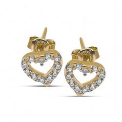 CZEAR0438 HEART EARRING GOLD PL 925