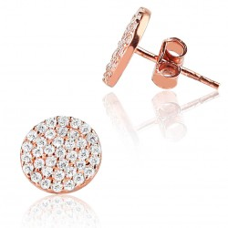 CZEAR0439 ROUND EARRING ROSE PL 925