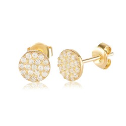 CZEAR0433-1 ROUND EARRING GOLD PL 925