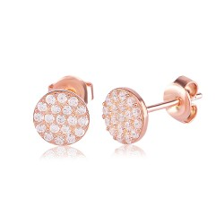 CZEAR0433-1 ROUND EARRING ROSE PL 925