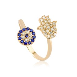 CZR0843 EVIL EYE AND HAMSA HAND RING GOLD PL 925