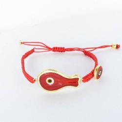 BD0588 RED FISH MACRAME BRACELET GOLD PL 925