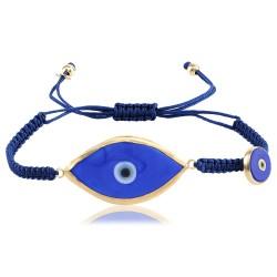 BD0589 NAVY BLUE EYE MACRAME BRACELET GOLD PL 925