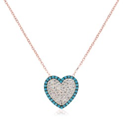 CZ2466N HEART ZIRGON NECKLACE ROSE PL 925