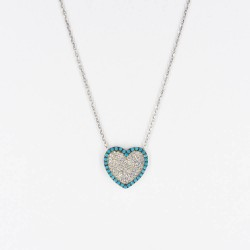 CZ2466N HEART ZIRGON NECKLACE SILVER 925