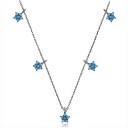 CZ1753N STAR ZIRGON NECKLACE BLACK PL 925