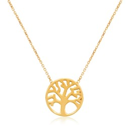 CZ1765N TREE OF LIFE NECKLACE GOLD PL 925