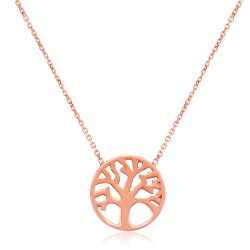 CZ1765N TREE OF LIFE NECKLACE ROSE PL 925
