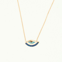CZ-C253N BLUE ZIRGON EVIL EYE ROSE PL 925