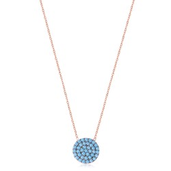 CZ0028N-1 ROUND NECKLACE ROSE PL 925