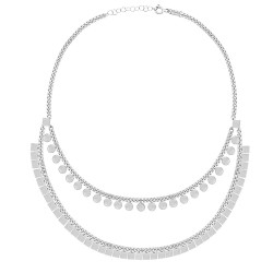 CZ5026N DOUBLE CHAIN NECKLACE SILVER 925